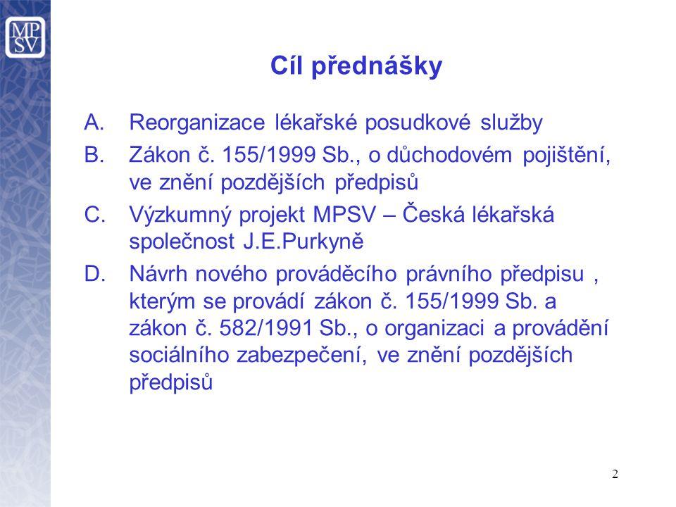 2 Cíl přednášky A.Reorganizace lékařské posudkové služby B.Zákon č.