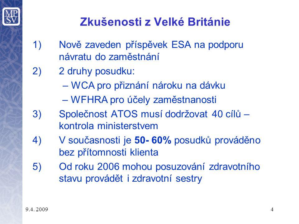 9.4. 20094 Zkušenosti z Velké Británie 1)Nově zaveden příspěvek ESA na podporu návratu do zaměstnání 2)2 druhy posudku: – WCA pro přiznání nároku na d