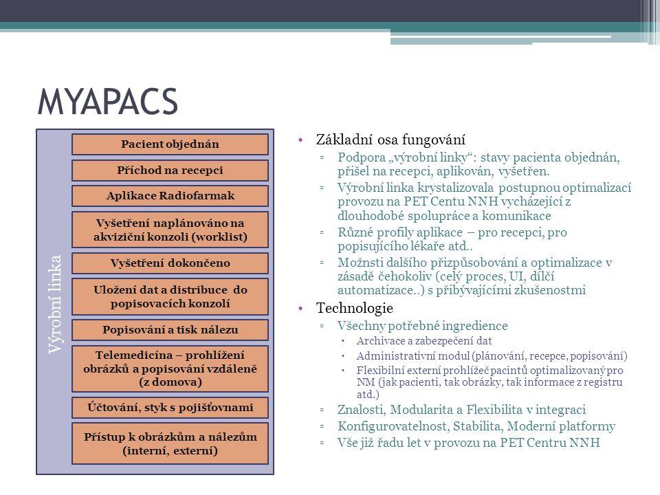 """MYAPACS Pacient objednán Příchod na recepci Aplikace Radiofarmak Vyšetření dokončeno Popisování a tisk nálezu Vyšetření naplánováno na akviziční konzoli (worklist) Uložení dat a distribuce do popisovacích konzolí Výrobní linka Přístup k obrázkům a nálezům (interní, externí) Účtování, styk s pojišťovnami Základní osa fungování ▫Podpora """"výrobní linky : stavy pacienta objednán, přišel na recepci, aplikován, vyšetřen."""