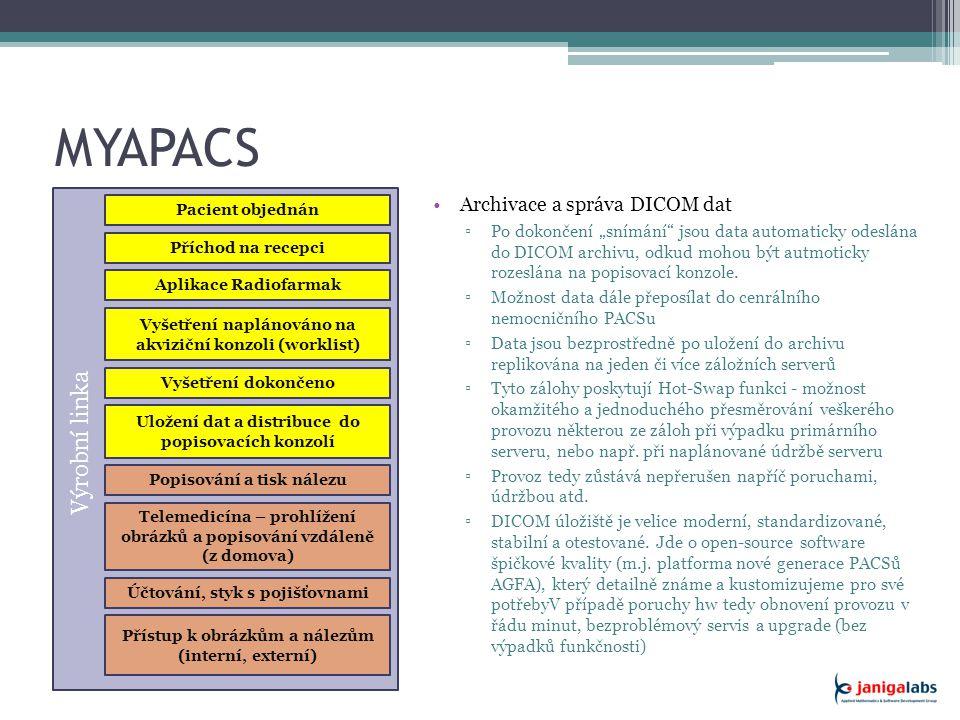 """MYAPACS Řešení Archivace a správa DICOM dat ▫Po dokončení """"snímání jsou data automaticky odeslána do DICOM archivu, odkud mohou být autmoticky rozeslána na popisovací konzole."""