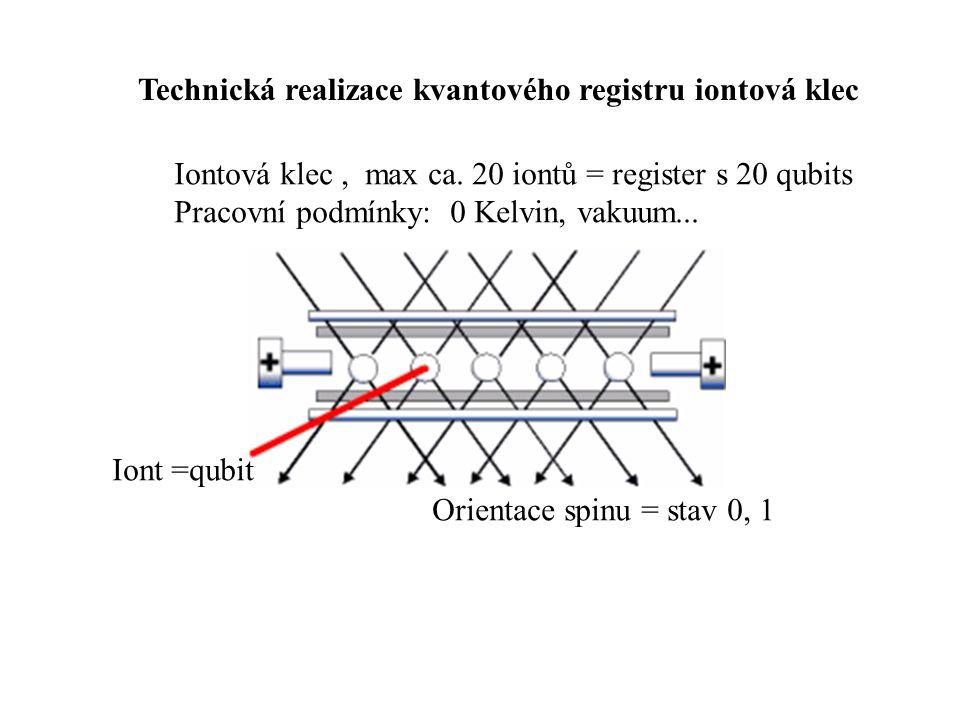 Technická realizace kvantového registru iontová klec Iontová klec, max ca.
