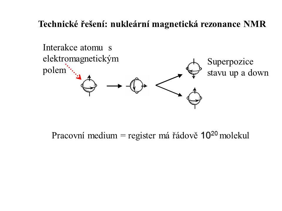 Technické řešení: nukleární magnetická rezonance NMR Interakce atomu s elektromagnetickým polem 10 20 Pracovní medium = register má řádově 10 20 molekul Superpozice stavu up a down