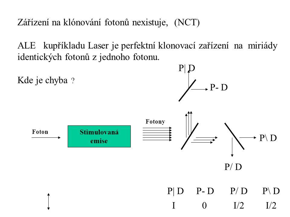 Zářízení na klónování fotonů nexistuje, (NCT) ALE kupříkladu Laser je perfektní klonovací zařízení na miriády identických fotonů z jednoho fotonu.