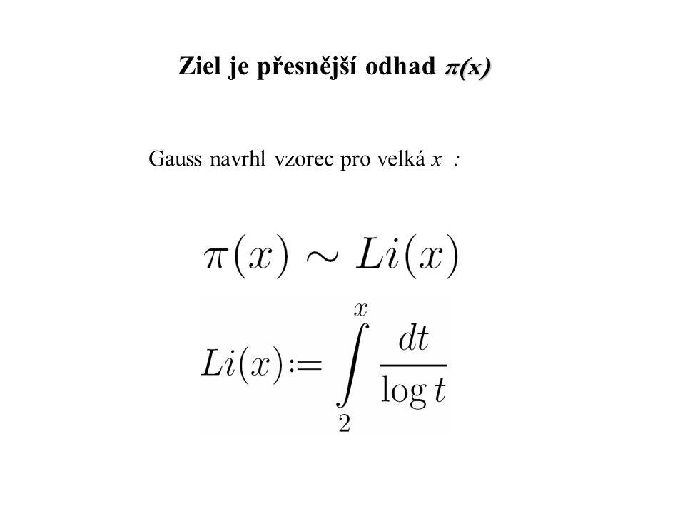 π(x) Ziel je přesnější odhad π(x) Gauss navrhl vzorec pro velká x :