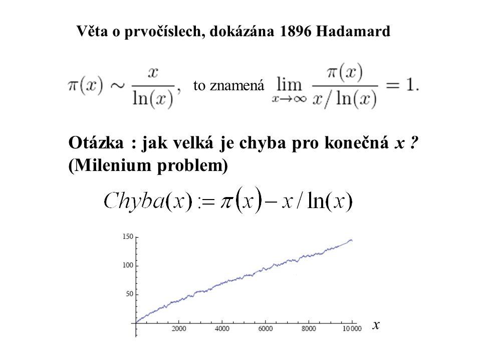 Věta o prvočíslech, dokázána 1896 Hadamard Otázka : jak velká je chyba pro konečná x .