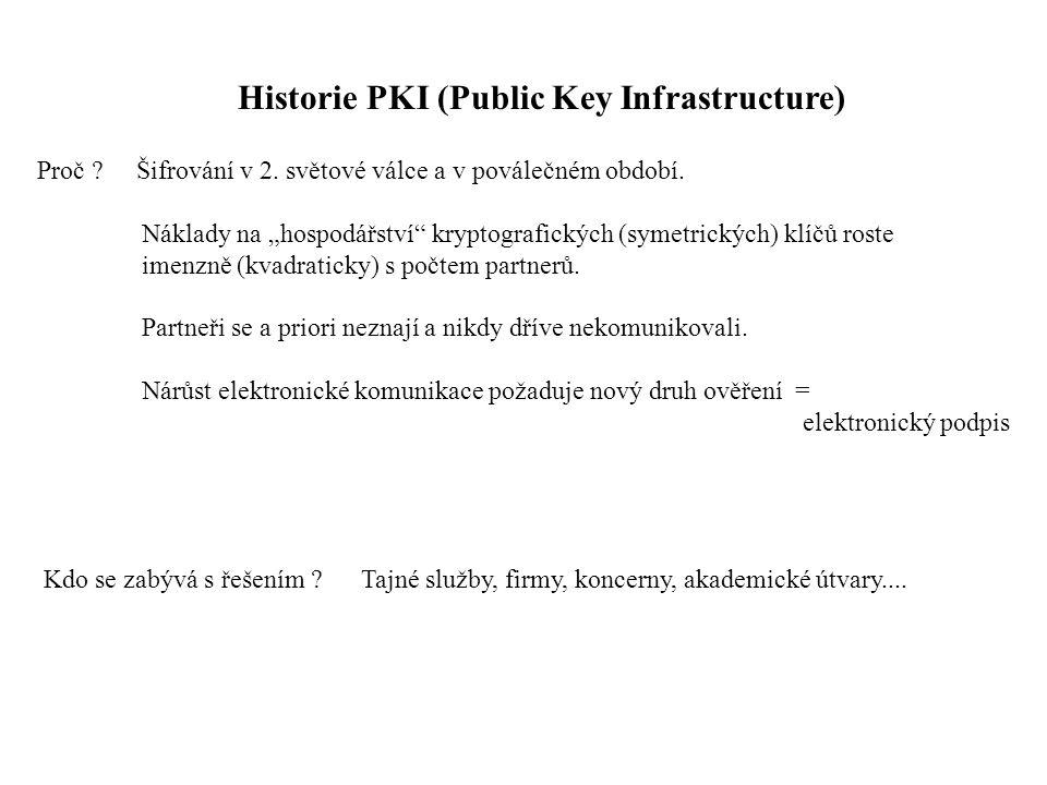 Historie PKI (Public Key Infrastructure) Proč . Šifrování v 2.