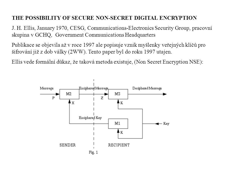 THE POSSIBILITY OF SECURE NON-SECRET DIGITAL ENCRYPTION J. H. Ellis, January 1970, CESG, Communications-Electronics Security Group, pracovní skupina v
