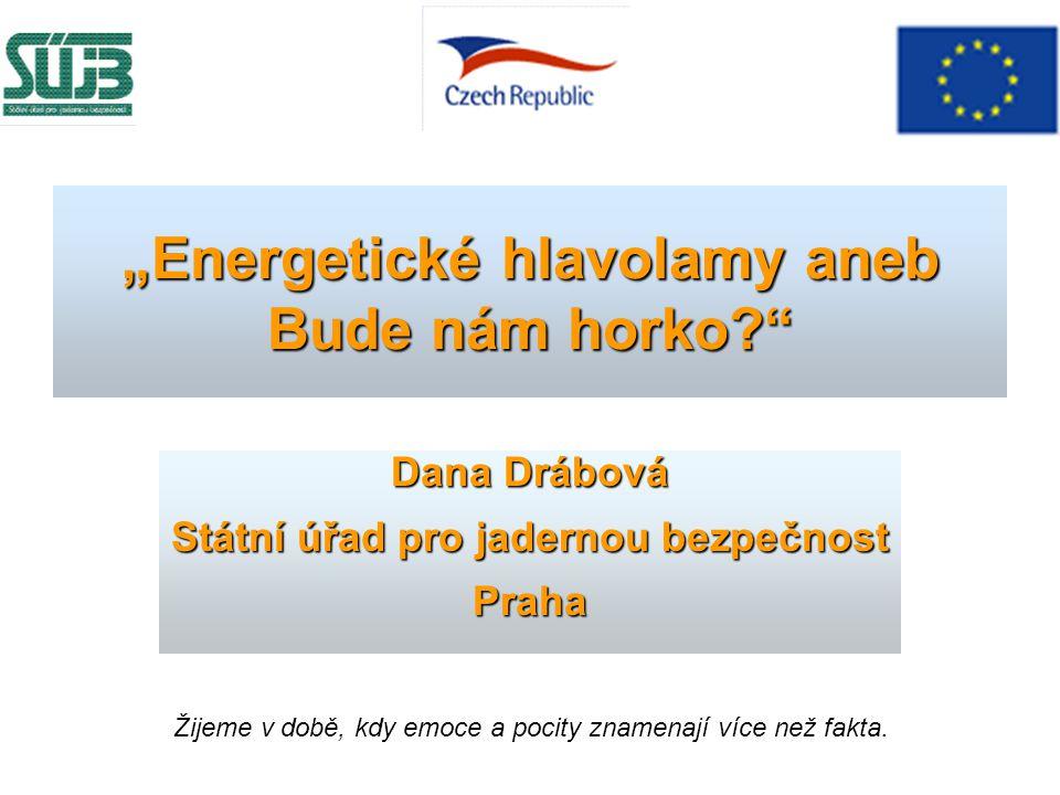 """""""Energetické hlavolamy aneb Bude nám horko?"""" Dana Drábová Státní úřad pro jadernou bezpečnost Praha Žijeme v době, kdy emoce a pocity znamenají více n"""