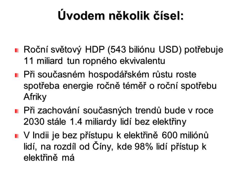 Úvodem několik čísel: Roční světový HDP (543 biliónu USD) potřebuje 11 miliard tun ropného ekvivalentu Při současném hospodářském růstu roste spotřeba