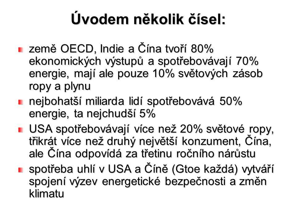 Úvodem několik čísel: země OECD, Indie a Čína tvoří 80% ekonomických výstupů a spotřebovávají 70% energie, mají ale pouze 10% světových zásob ropy a p