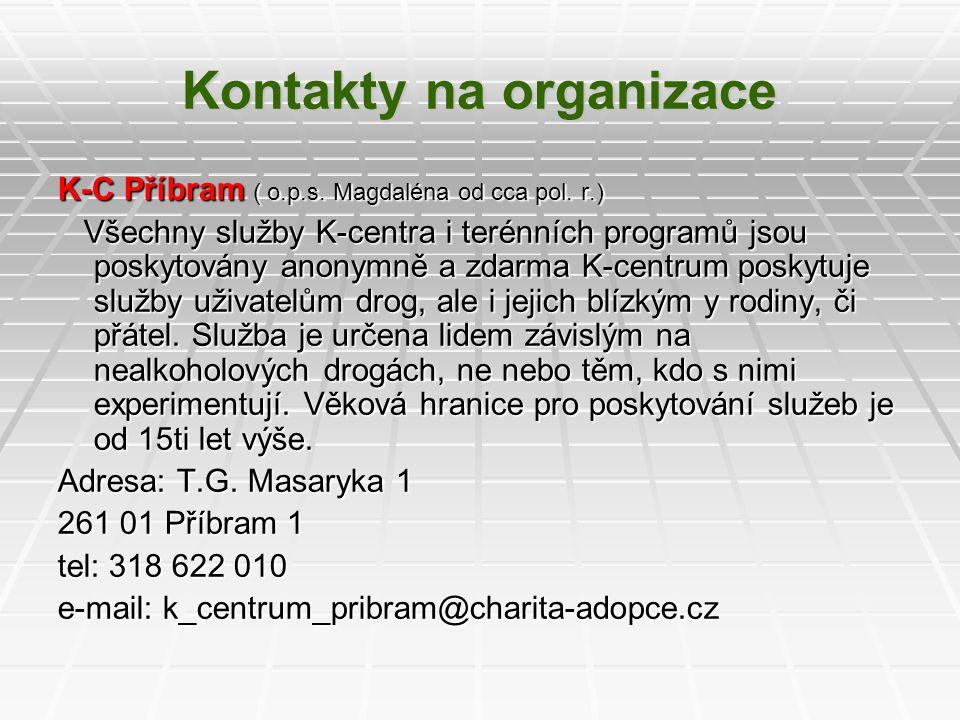 Kontakty na organizace K-C Příbram ( o.p.s. Magdaléna od cca pol. r.) Všechny služby K-centra i terénních programů jsou poskytovány anonymně a zdarma