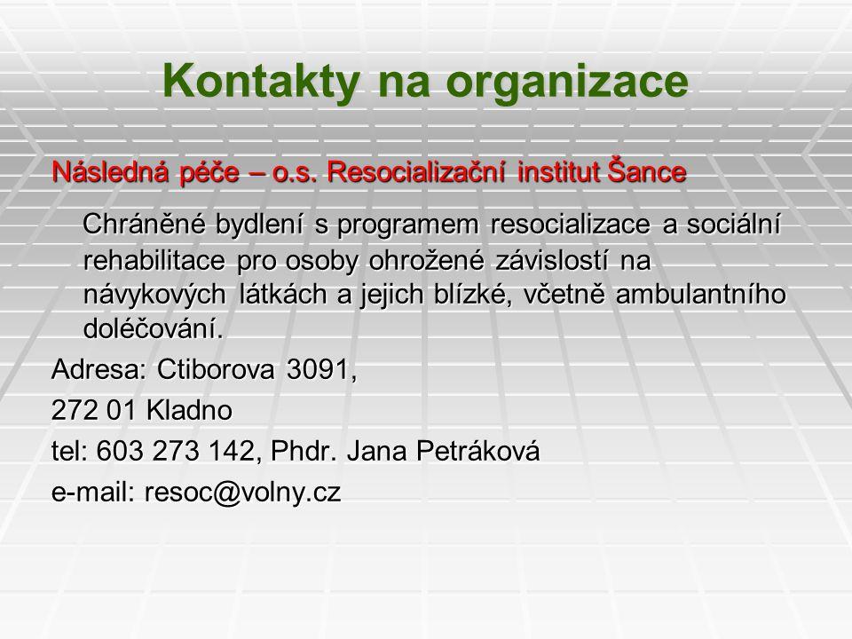 Kontakty na organizace Následná péče – o.s. Resocializační institut Šance Chráněné bydlení s programem resocializace a sociální rehabilitace pro osoby