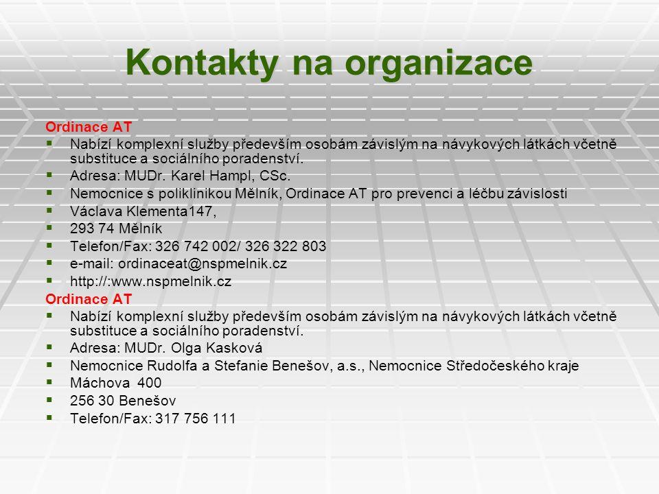 Kontakty na organizace Ordinace AT   Nabízí komplexní služby především osobám závislým na návykových látkách včetně substituce a sociálního poradens