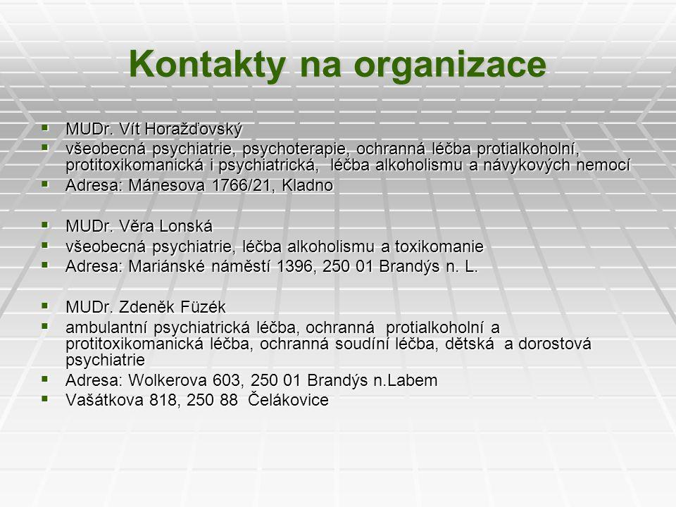Kontakty na organizace  MUDr. Vít Horažďovský  všeobecná psychiatrie, psychoterapie, ochranná léčba protialkoholní, protitoxikomanická i psychiatric