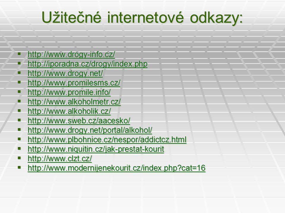 Užitečné internetové odkazy:  http://www.drogy-info.cz/ http://www.drogy-info.cz/  http://iporadna.cz/drogy/index.php http://iporadna.cz/drogy/index