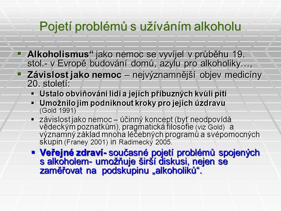 """Pojetí problémů s užíváním alkoholu  Alkoholismus"""" jako nemoc se vyvíjel v průběhu 19. stol.- v Evropě budování domů, azylu pro alkoholiky…,  Závisl"""