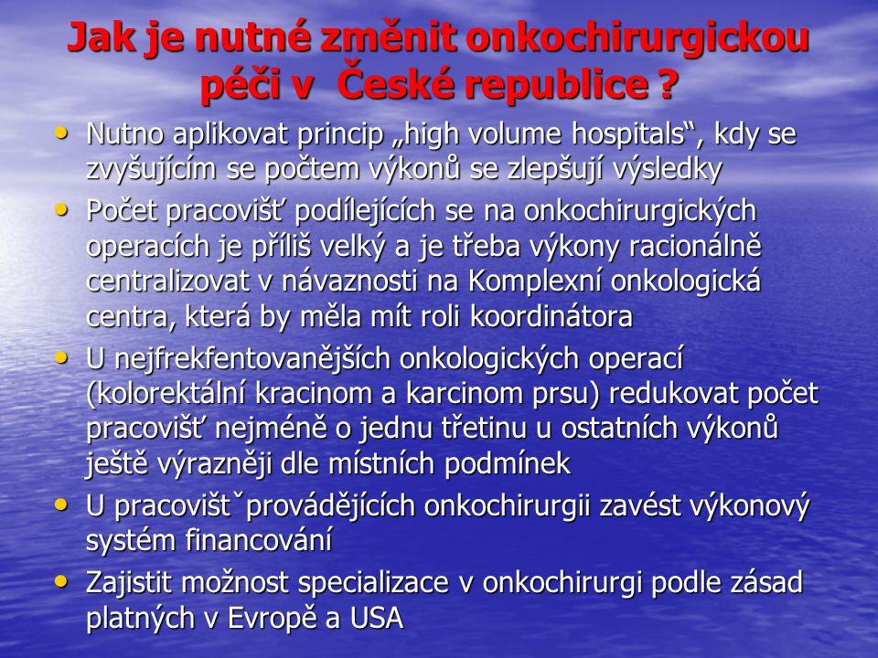 """Jak je nutné změnit onkochirurgickou péči v České republice ? Nutno aplikovat princip """"high volume hospitals"""", kdy se zvyšujícím se počtem výkonů se z"""