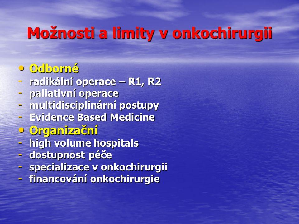 Odborné Odborné - radikální operace – R1, R2 - paliativní operace - multidisciplinární postupy - Evidence Based Medicine Organizační Organizační - high volume hospitals - dostupnost péče - specializace v onkochirurgii - financování onkochirurgie Možnosti a limity v onkochirurgii