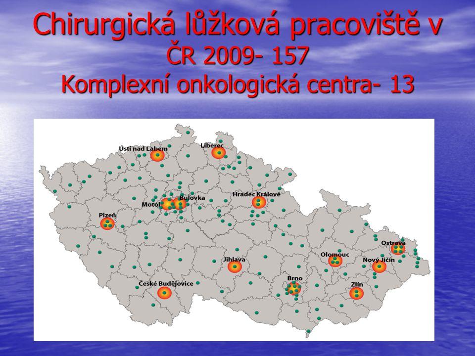 Chirurgická lůžková pracoviště v ČR 2009- 157 Komplexní onkologická centra- 13