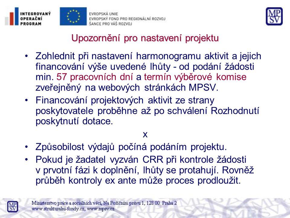 Upozornění pro nastavení projektu Zohlednit při nastavení harmonogramu aktivit a jejich financování výše uvedené lhůty - od podání žádosti min. 57 pra