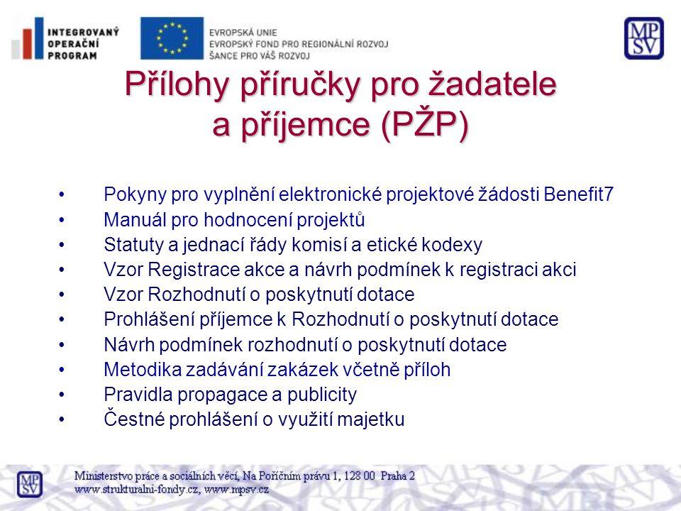 Přílohy příručky pro žadatele a příjemce (PŽP) Pokyny pro vyplnění elektronické projektové žádosti Benefit7 Manuál pro hodnocení projektů Statuty a je
