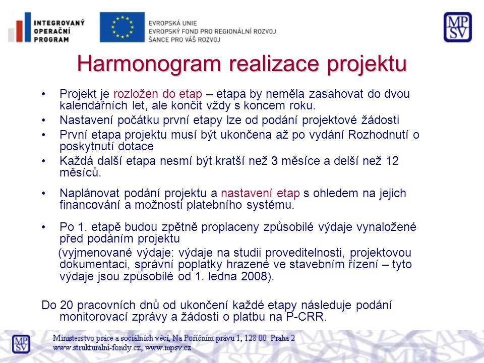 Harmonogram realizace projektu Projekt je rozložen do etap – etapa by neměla zasahovat do dvou kalendářních let, ale končit vždy s koncem roku. Nastav