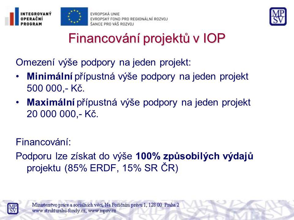 Financování projektů v IOP Omezení výše podpory na jeden projekt: Minimální přípustná výše podpory na jeden projekt 500 000,- Kč.