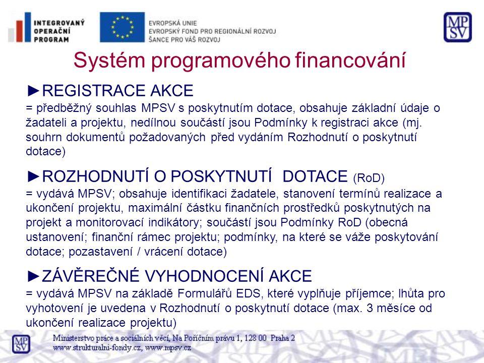 Systém programového financování ►REGISTRACE AKCE = předběžný souhlas MPSV s poskytnutím dotace, obsahuje základní údaje o žadateli a projektu, nedílnou součástí jsou Podmínky k registraci akce (mj.