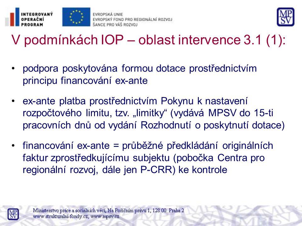 V podmínkách IOP – oblast intervence 3.1 (1): podpora poskytována formou dotace prostřednictvím principu financování ex-ante ex-ante platba prostřednictvím Pokynu k nastavení rozpočtového limitu, tzv.