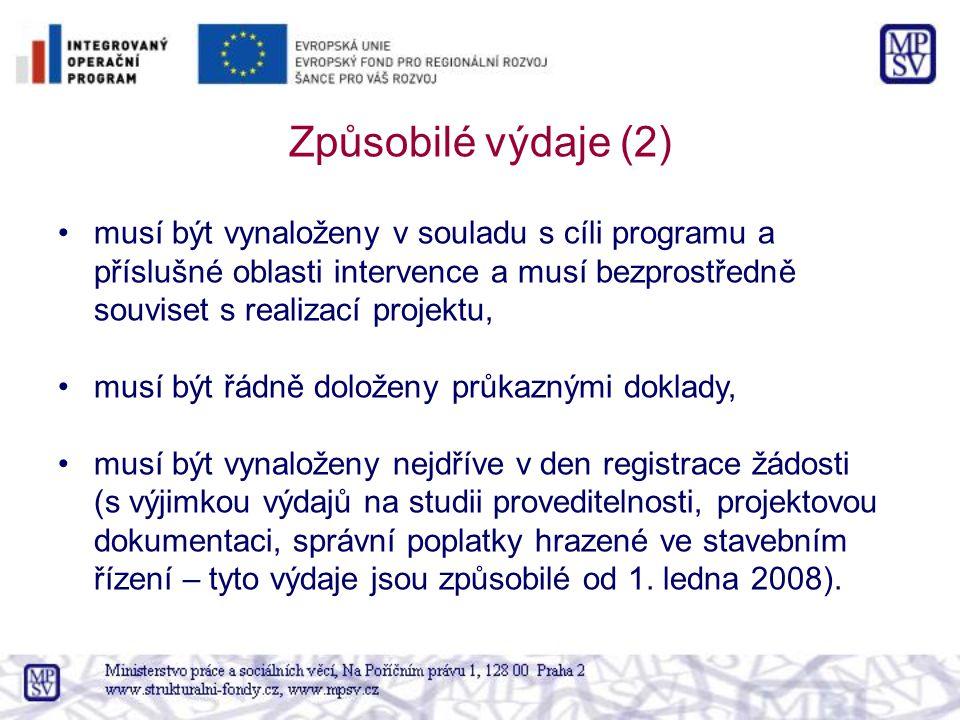 Způsobilé výdaje (2) musí být vynaloženy v souladu s cíli programu a příslušné oblasti intervence a musí bezprostředně souviset s realizací projektu,