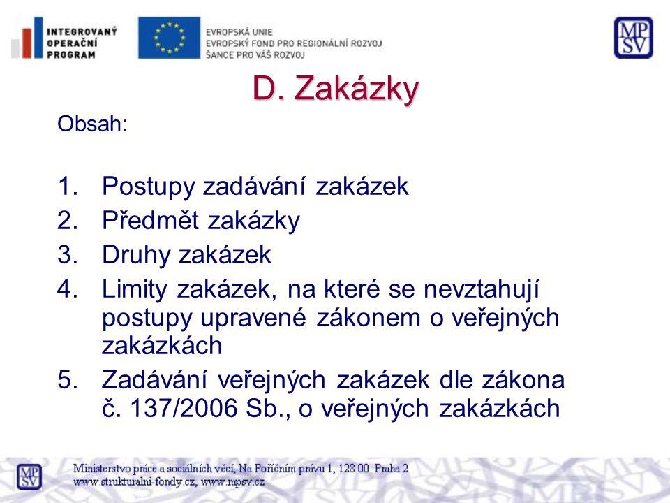 D. Zakázky Obsah: 1.Postupy zadávání zakázek 2.Předmět zakázky 3.Druhy zakázek 4.Limity zakázek, na které se nevztahují postupy upravené zákonem o veř