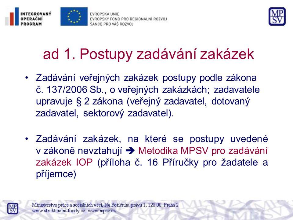 ad 1.Postupy zadávání zakázek Zadávání veřejných zakázek postupy podle zákona č.