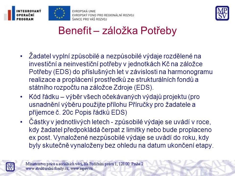 Benefit – záložka Potřeby Žadatel vyplní způsobilé a nezpůsobilé výdaje rozdělené na investiční a neinvestiční potřeby v jednotkách Kč na záložce Potřeby (EDS) do příslušných let v závislosti na harmonogramu realizace a proplácení prostředků ze strukturálních fondů a státního rozpočtu na záložce Zdroje (EDS).