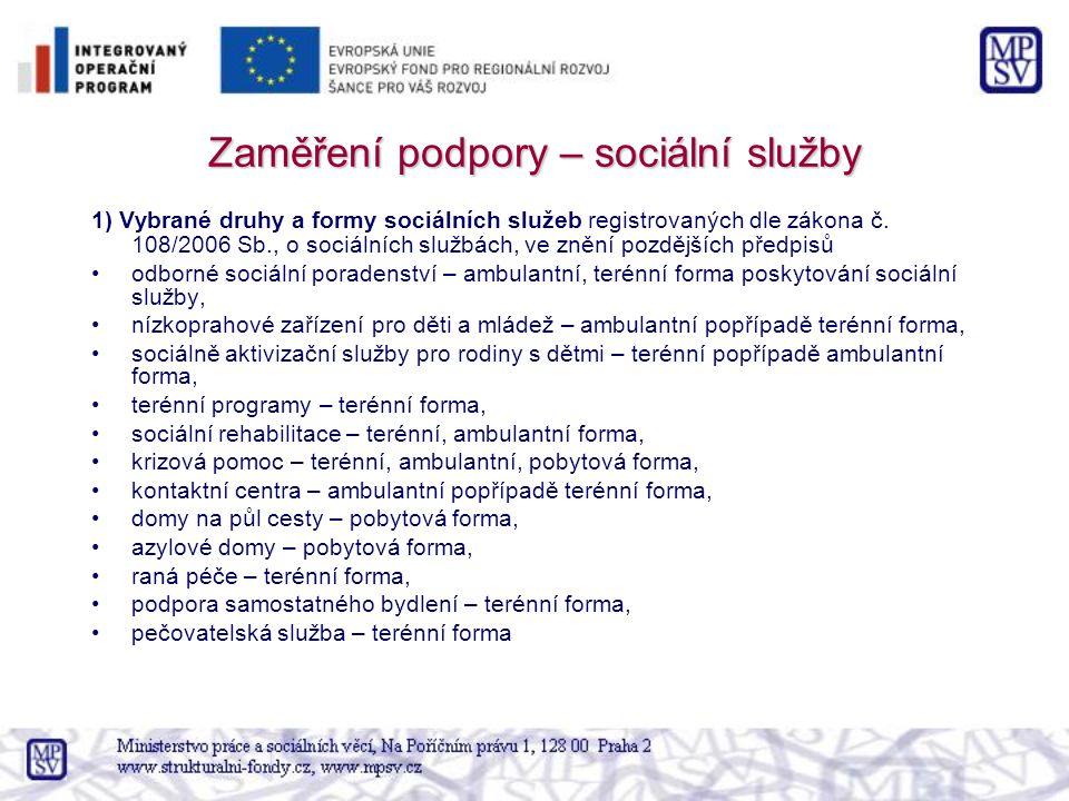 Zaměření podpory – sociální služby 1) Vybrané druhy a formy sociálních služeb registrovaných dle zákona č.
