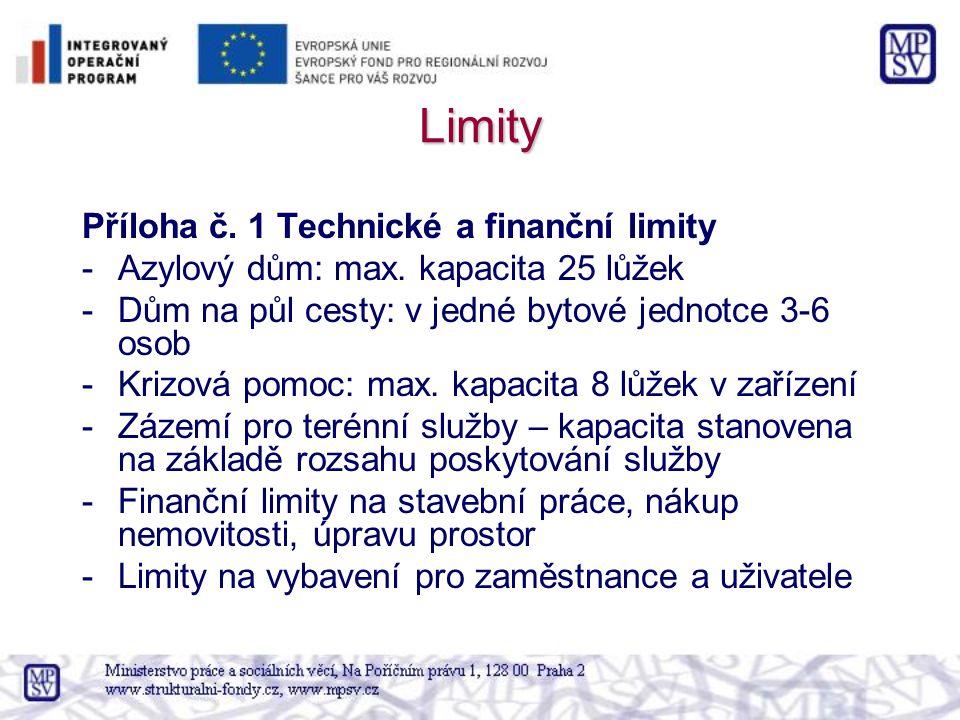 Limity Příloha č. 1 Technické a finanční limity -Azylový dům: max. kapacita 25 lůžek -Dům na půl cesty: v jedné bytové jednotce 3-6 osob -Krizová pomo