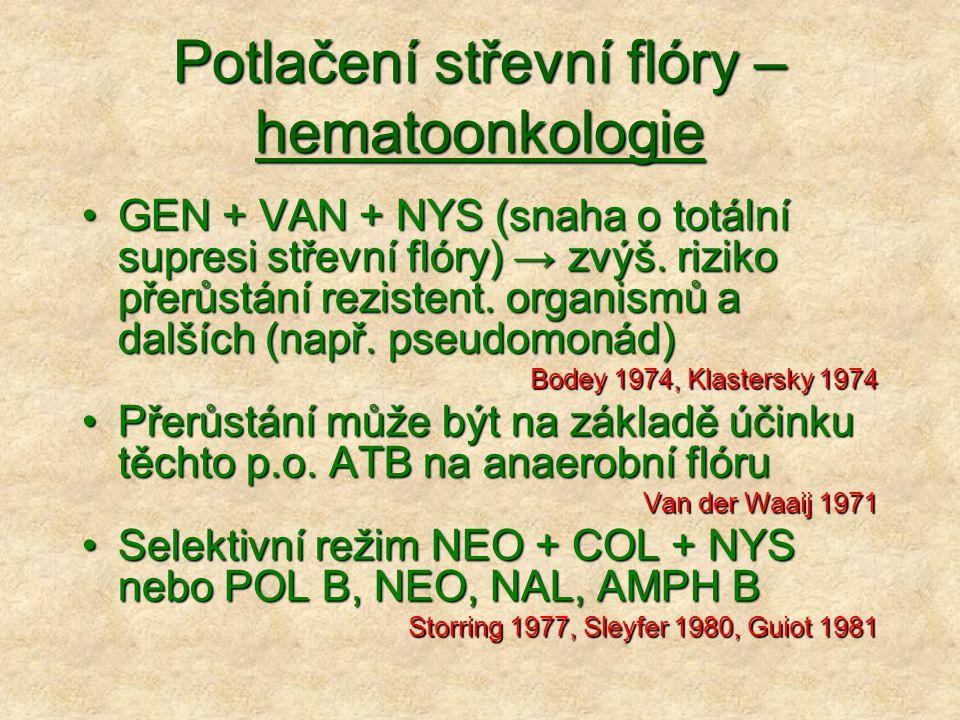 Potlačení střevní flóry – hematoonkologie GEN + VAN + NYS (snaha o totální supresi střevní flóry) → zvýš. riziko přerůstání rezistent. organismů a dal