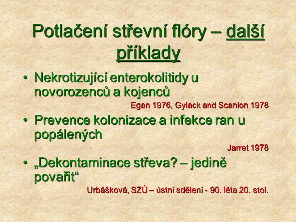 Potlačení střevní flóry – další příklady Nekrotizující enterokolitidy u novorozenců a kojencůNekrotizující enterokolitidy u novorozenců a kojenců Egan
