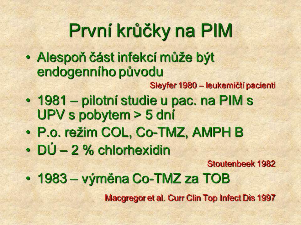 První krůčky na PIM Alespoň část infekcí může být endogenního původuAlespoň část infekcí může být endogenního původu Sleyfer 1980 – leukemičtí pacient