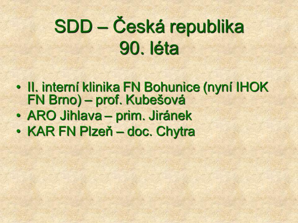 SDD – Česká republika 90. léta II. interní klinika FN Bohunice (nyní IHOK FN Brno) – prof. KubešováII. interní klinika FN Bohunice (nyní IHOK FN Brno)