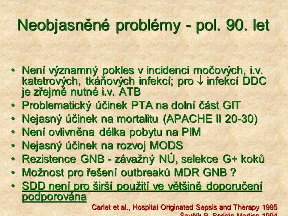 Neobjasněné problémy - pol. 90. let Není významný pokles v incidenci močových, i.v. katetrových, tkáňových infekcí; pro  infekcí DDC je zřejmě nutné