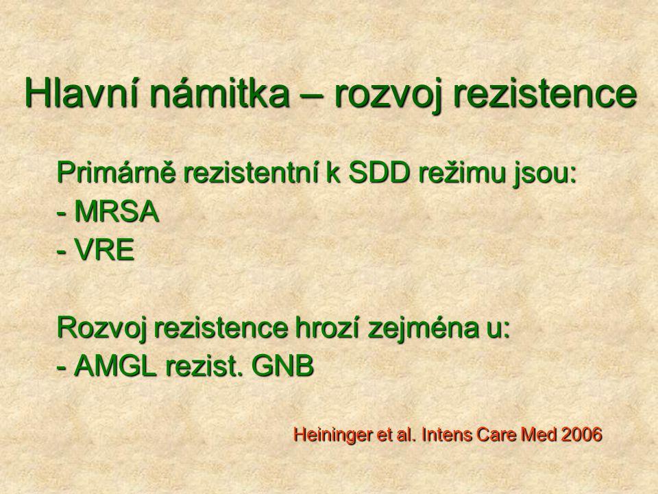 Hlavní námitka – rozvoj rezistence Primárně rezistentní k SDD režimu jsou: - MRSA - VRE Rozvoj rezistence hrozí zejména u: - AMGL rezist. GNB Heininge