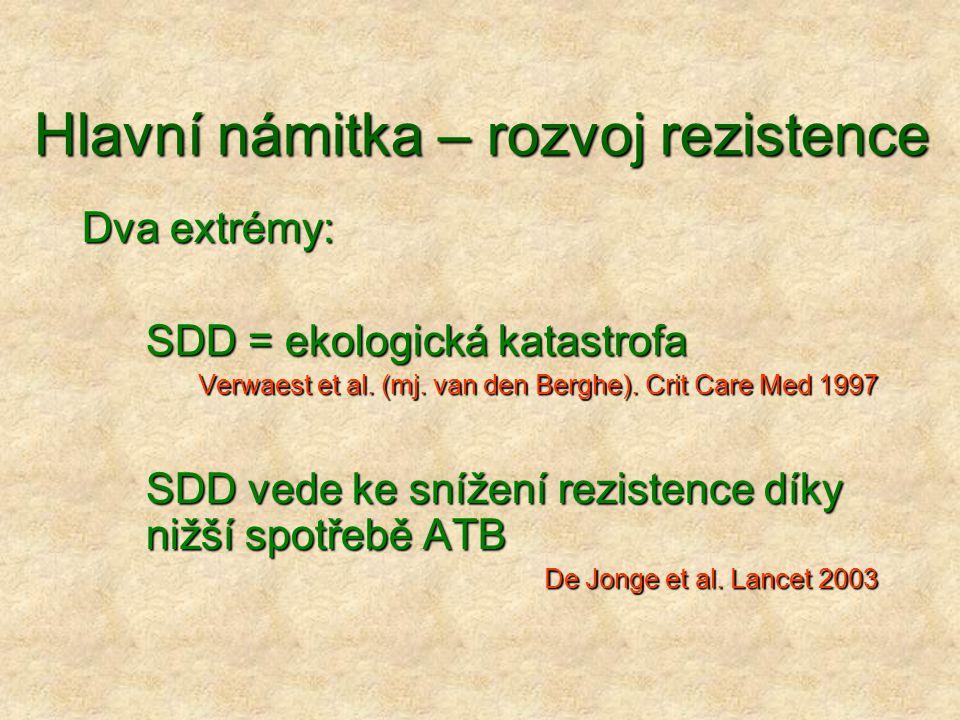 Hlavní námitka – rozvoj rezistence Dva extrémy: SDD = ekologická katastrofa Verwaest et al. (mj. van den Berghe). Crit Care Med 1997 SDD vede ke sníže