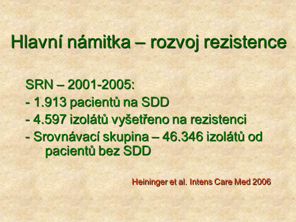 Hlavní námitka – rozvoj rezistence SRN – 2001-2005: - 1.913 pacientů na SDD - 4.597 izolátů vyšetřeno na rezistenci - Srovnávací skupina – 46.346 izol