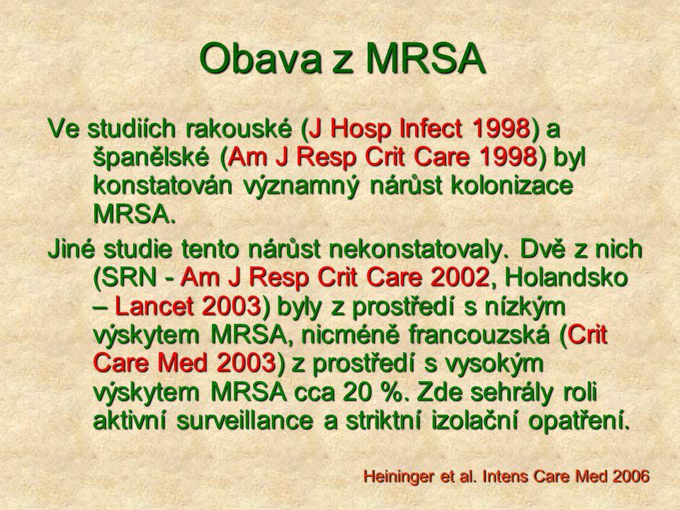 Obava z MRSA Ve studiích rakouské (J Hosp Infect 1998) a španělské (Am J Resp Crit Care 1998) byl konstatován významný nárůst kolonizace MRSA. Jiné st
