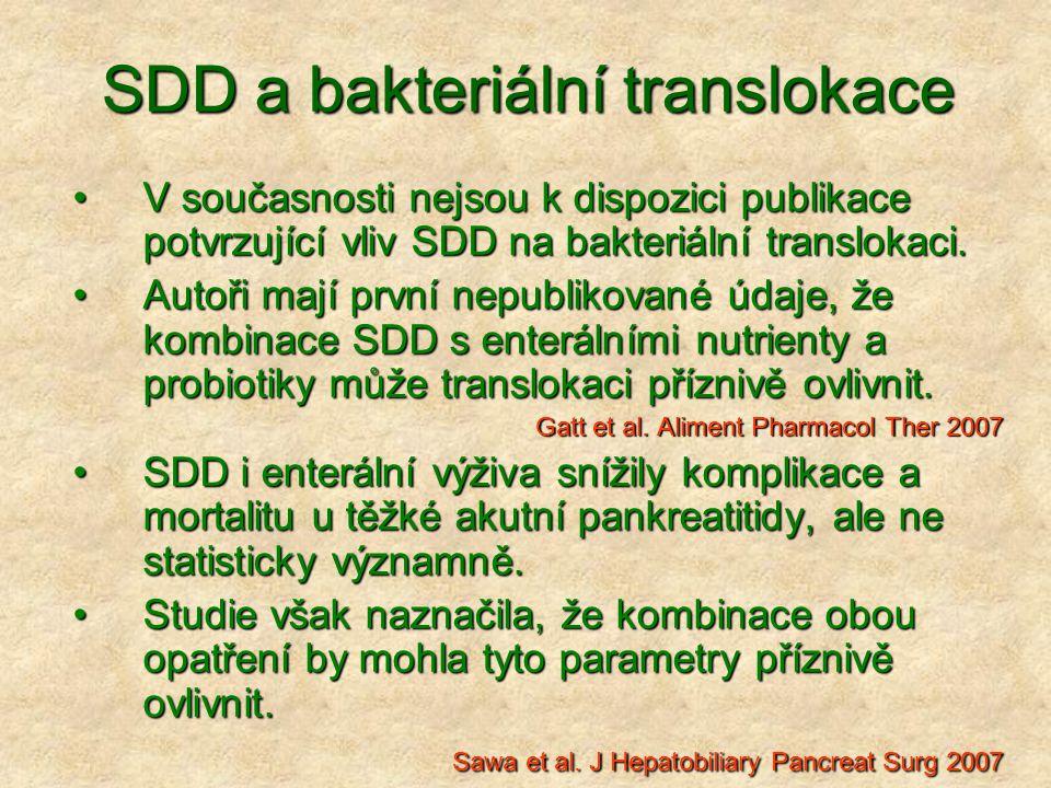 SDD a bakteriální translokace V současnosti nejsou k dispozici publikace potvrzující vliv SDD na bakteriální translokaci.V současnosti nejsou k dispoz