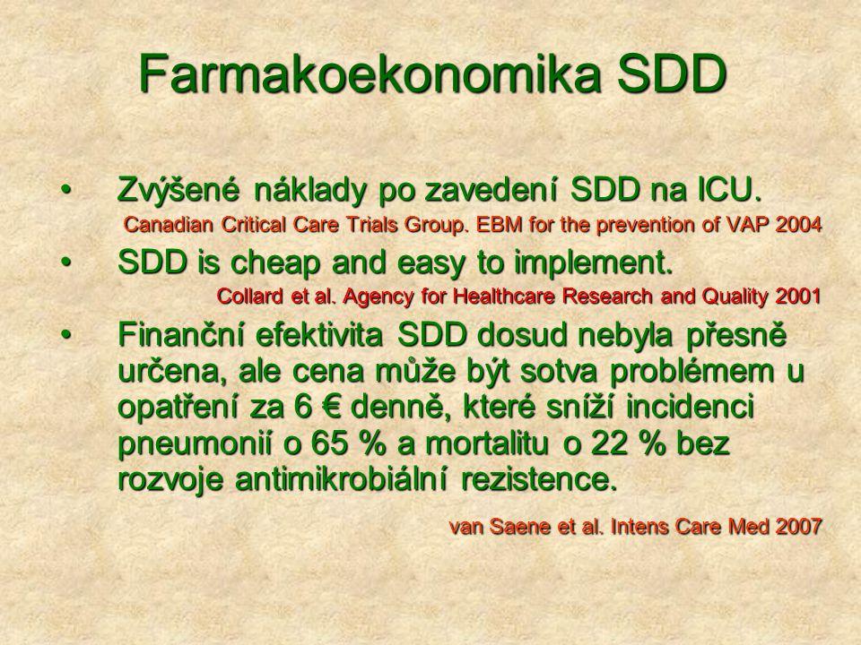 Farmakoekonomika SDD Zvýšené náklady po zavedení SDD na ICU.Zvýšené náklady po zavedení SDD na ICU. Canadian Critical Care Trials Group. EBM for the p