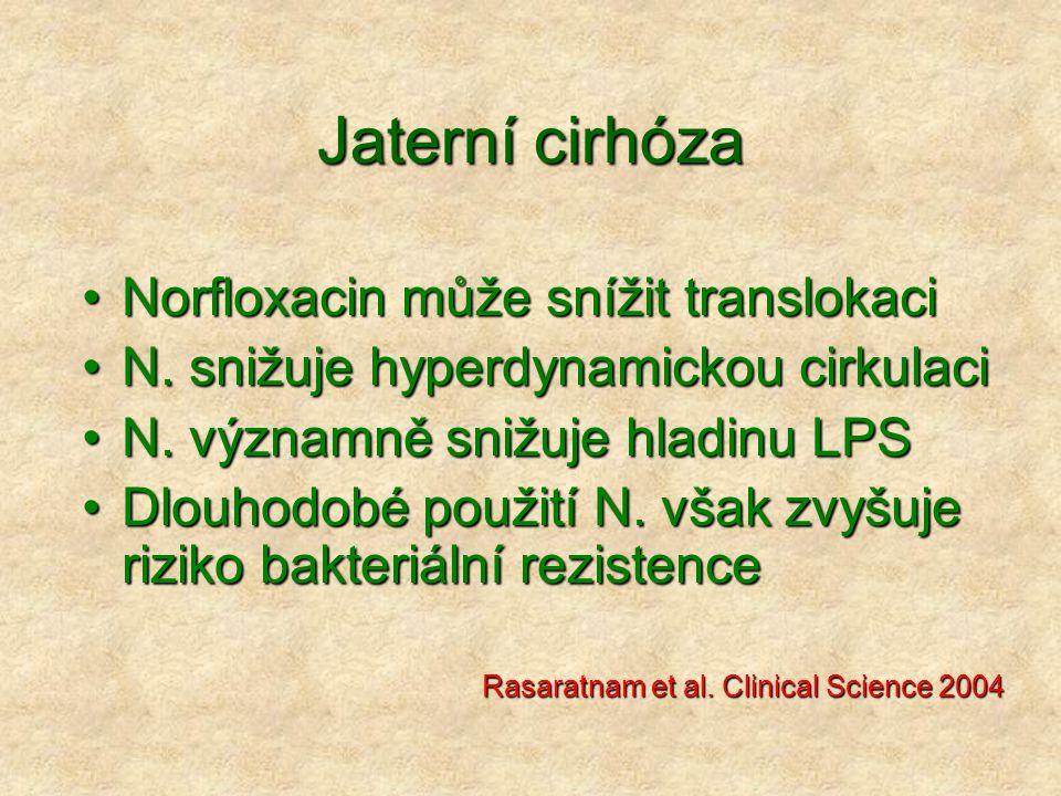 Jaterní cirhóza Norfloxacin může snížit translokaciNorfloxacin může snížit translokaci N. snižuje hyperdynamickou cirkulaciN. snižuje hyperdynamickou