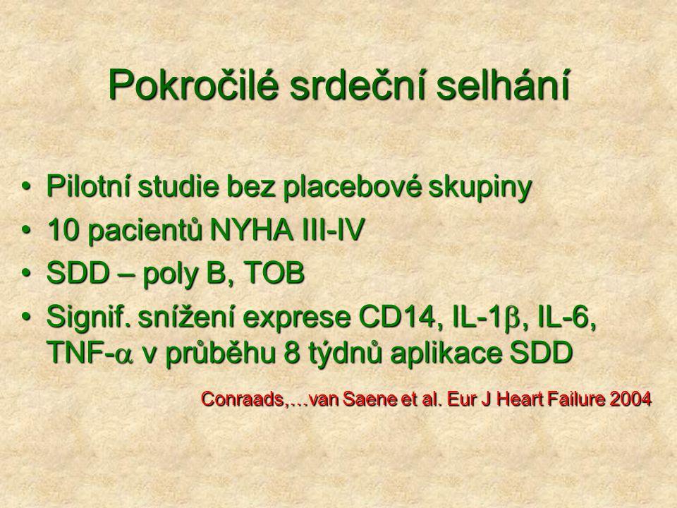 Pokročilé srdeční selhání Pilotní studie bez placebové skupinyPilotní studie bez placebové skupiny 10 pacientů NYHA III-IV10 pacientů NYHA III-IV SDD