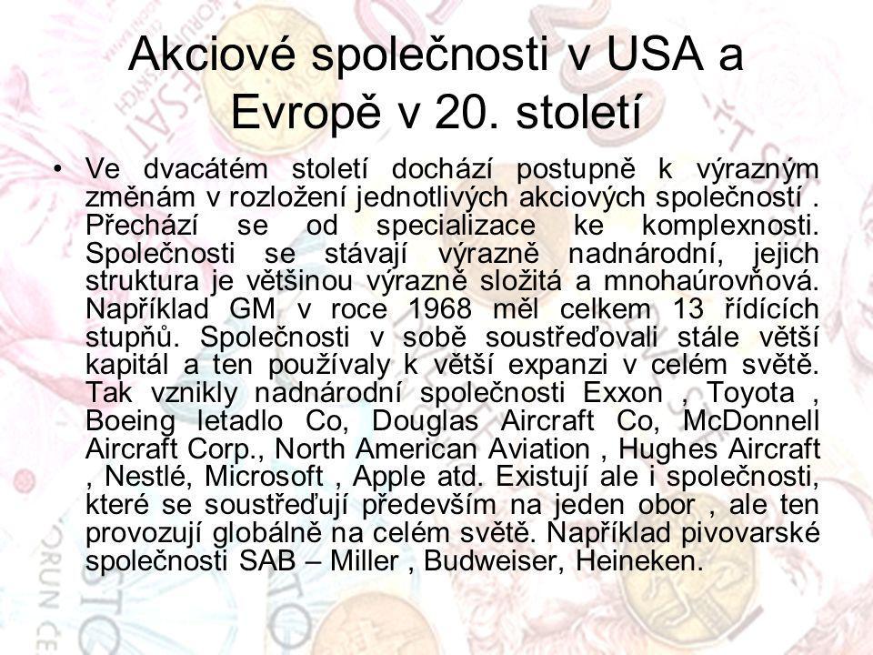 Akciové společnosti v USA a Evropě v 20.