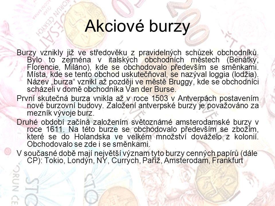 Akciové burzy Burzy vznikly již ve středověku z pravidelných schůzek obchodníků. Bylo to zejména v italských obchodních městech (Benátky, Florencie, M